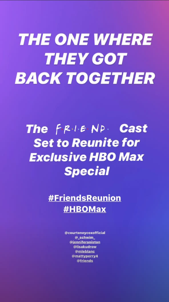 HBO announced the news of the 90's hit's comeback with a very 2020 Instagram story. Photo: Instagram/ HBO Max