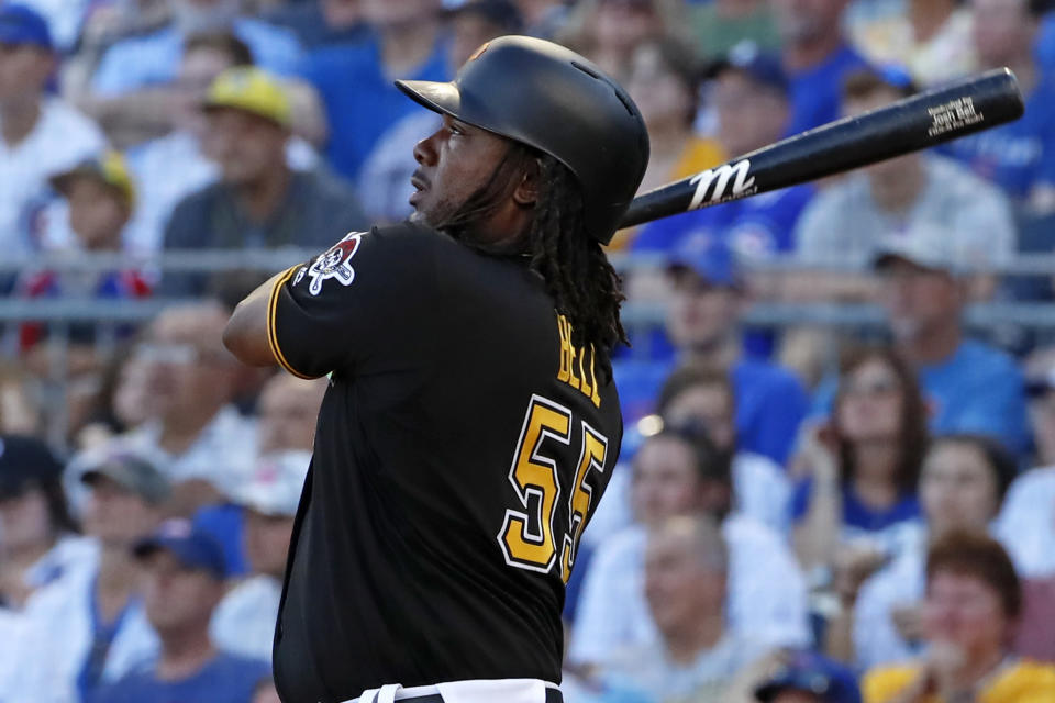Pittsburgh Pirates' Josh Bell watches his three-run home run off Chicago Cubs starting pitcher Adbert Alzolay during the first inning of a baseball game in Pittsburgh, Monday, July 1, 2019. (AP Photo/Gene J. Puskar)