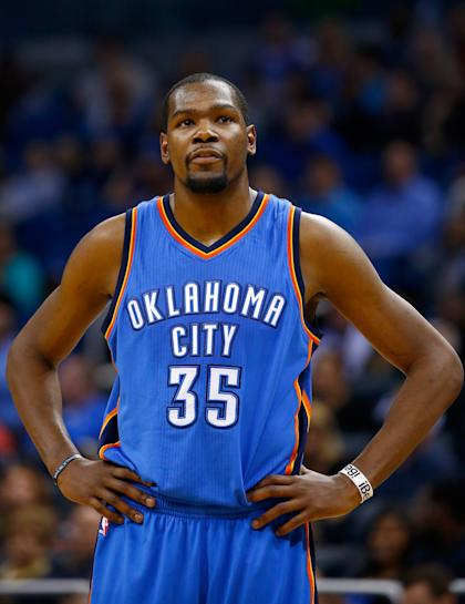 ORLANDO, FL - JANUARY 18: Kevin Durant #35 of the Oklahoma City Thunder waits for play during the game against the Orlando Magic at Amway Center on January 18, 2015 in Orlando, Florida. NOTE TO USER: User expressly acknowledges and agrees that, by downloading and or using this photograph, User is consenting to the terms and conditions of the Getty Images License Agreement. (Photo by Sam Greenwood/Getty Images)