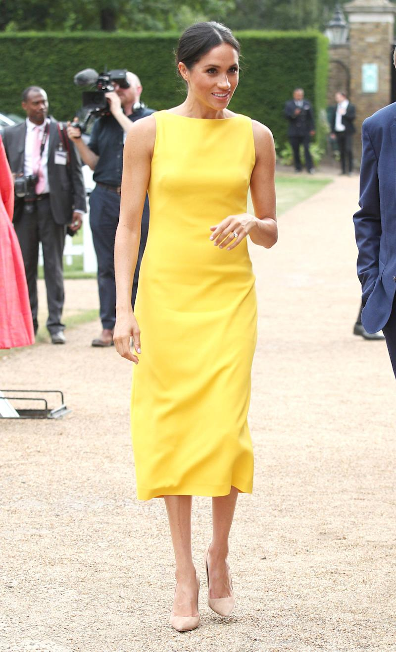 Markle has been known to cleave to a neutral palette, so when she stepped out literally wearing a ray of sunshine, it was a pleasant surprise.