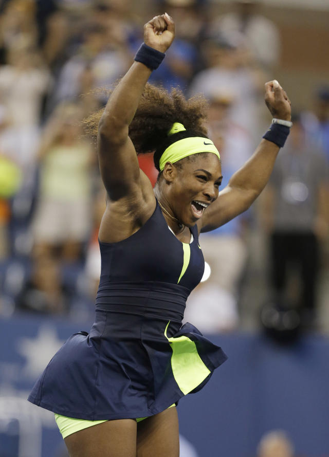 Serena Williams reacts after beating Victoria Azarenka, of Belarus, in the championship match at the 2012 US Open tennis tournament, Sunday, Sept. 9, 2012, in New York. (AP Photo/Darron Cummings)