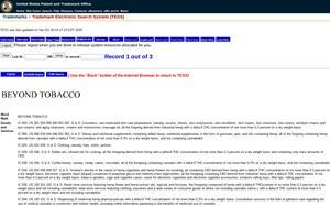 TESS record on the USPTO trademark search engine for the Company's Beyond Tobacco™ trademark application in the United States (88956478)