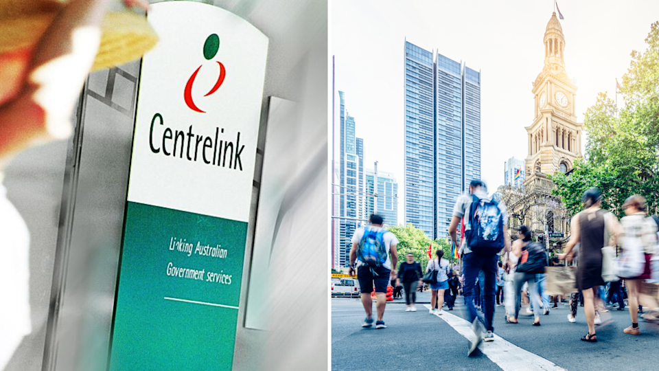 Pictured: Centrelink logo, busy Australian street. Images: Getty