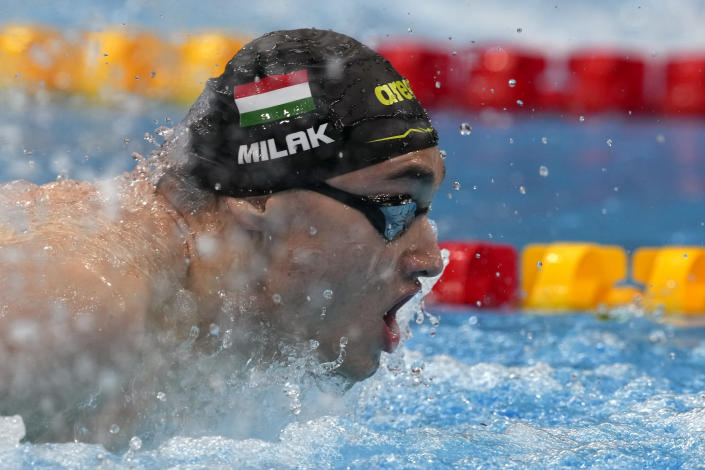 Kristof Milak of Hungary swims in a men's 200-meter butterfly final at the 2020 Summer Olympics, Wednesday, July 28, 2021, in Tokyo, Japan. (AP Photo/Martin Meissner)