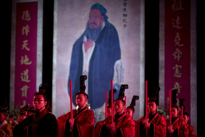 """<span class=""""caption"""">The Chinese government has promoted a revival of Confucianism, along with traditional religious practices, as part of its nationalist agenda.</span> <span class=""""attribution""""><a class=""""link rapid-noclick-resp"""" href=""""https://newsroom.ap.org/detail/ChinaRegulatingReligion/a87aed02d16c49689fae7dc31d53907c"""" rel=""""nofollow noopener"""" target=""""_blank"""" data-ylk=""""slk:AP Photo/Mark Schiefelbein"""">AP Photo/Mark Schiefelbein</a></span>"""