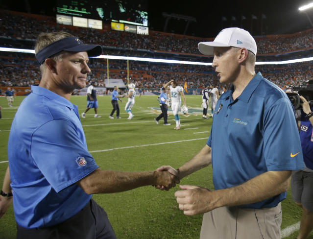 Miami Dolphins head coach Joe Philbin, right, and San Diego Chargers head coach Mike McCoy shake hands after the Dolphins defeated the Chargers 20-16 during an NFL football game, Sunday, Nov. 17, 2013, in Miami Gardens, Fla. (AP Photo/Wilfredo Lee)