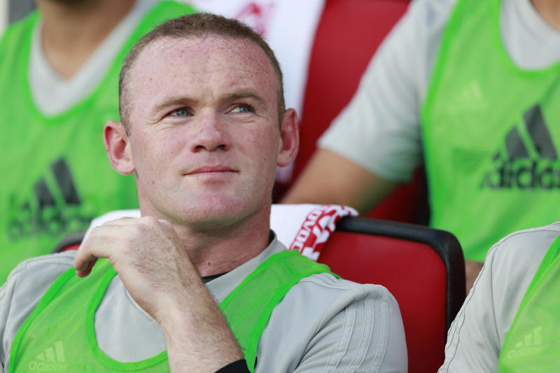 WASHINGTON, DC - JULY 14: Wayne Rooney #9 of D.C. United looks on before playing against the Vancouver Whitecaps during his MLS debut at Audi Field on July 14, 2018 in Washington, DC. (Photo by Patrick McDermott/Getty Images)