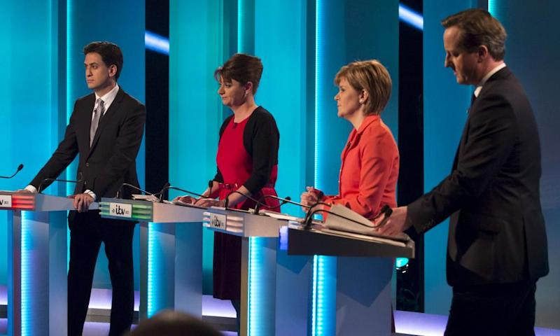 Leaders of UK political parties during a TV debate in 2015