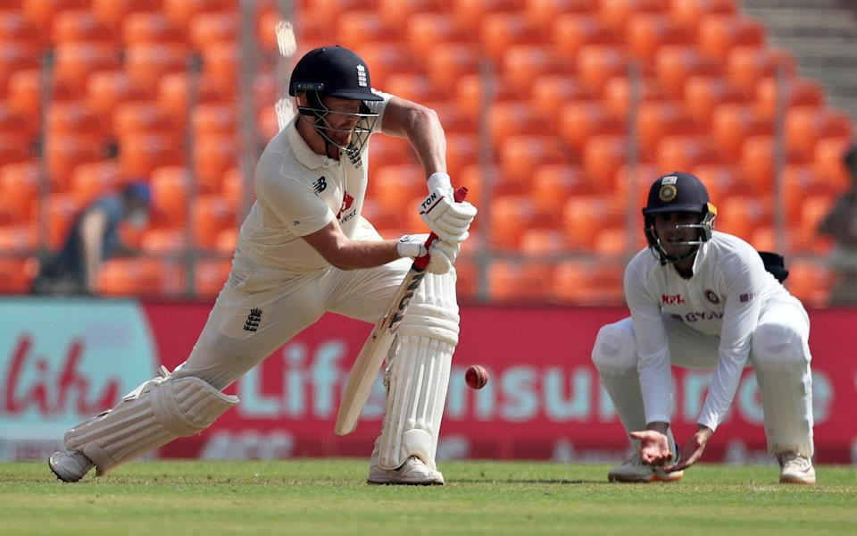 England's Jonny Bairstow, left, bats during the first day of fourth cricket test match between India and England at Narendra Modi Stadium in Ahmedabad, India, Thursday, March 4, 2021. - AP Photo/Aijaz Rahi