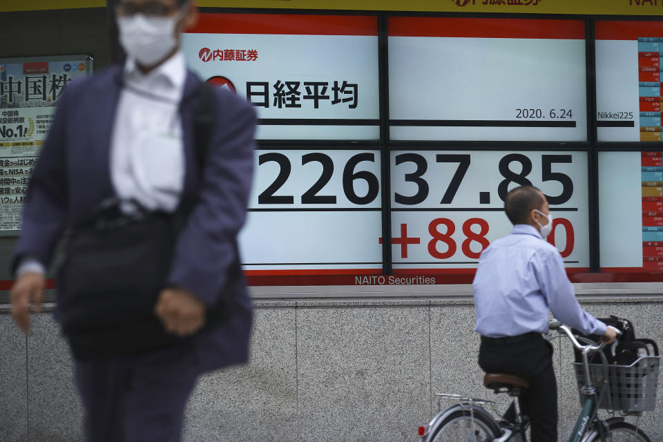 A man walks past an electronic stock board showing Japan's Nikkei 225 index at a securities firm in Tokyo Wednesday, June 24, 2020. Asian shares were mostly higher on Wednesday with another mood boost from Wall Street, but fears persist over the surge in coronavirus cases in parts of the world. (AP Photo/Eugene Hoshiko)