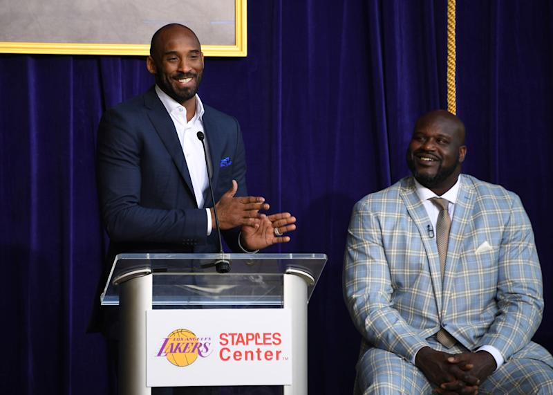 Bryant speaks during ceremony to unveil statue of Los Angeles Lakers former center Shaquille O'Neal at the Staples Center on Mar 24, 2017.  (Photo: USA Today Sports/Reuters)
