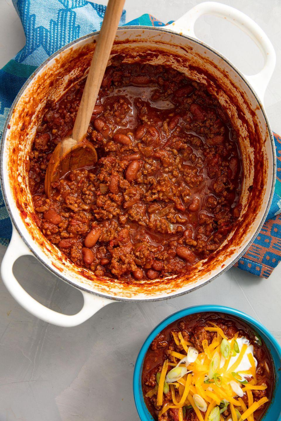 "<p>You can't beat a classic.</p><p>Get the recipe from <a href=""https://www.delish.com/cooking/recipe-ideas/recipes/a58253/best-homemade-chili-recipe/"" rel=""nofollow noopener"" target=""_blank"" data-ylk=""slk:Delish"" class=""link rapid-noclick-resp"">Delish</a>.</p>"
