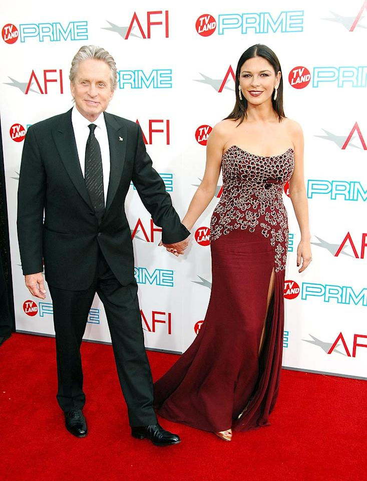 "<a href=""http://movies.yahoo.com/movie/contributor/1800012782"">Michael Douglas</a> and <a href=""http://movies.yahoo.com/movie/contributor/1800019539"">Catherine Zeta-Jones</a> at the 37th Annual AFI Lifetime Achievement Awards - 6/11/2009"