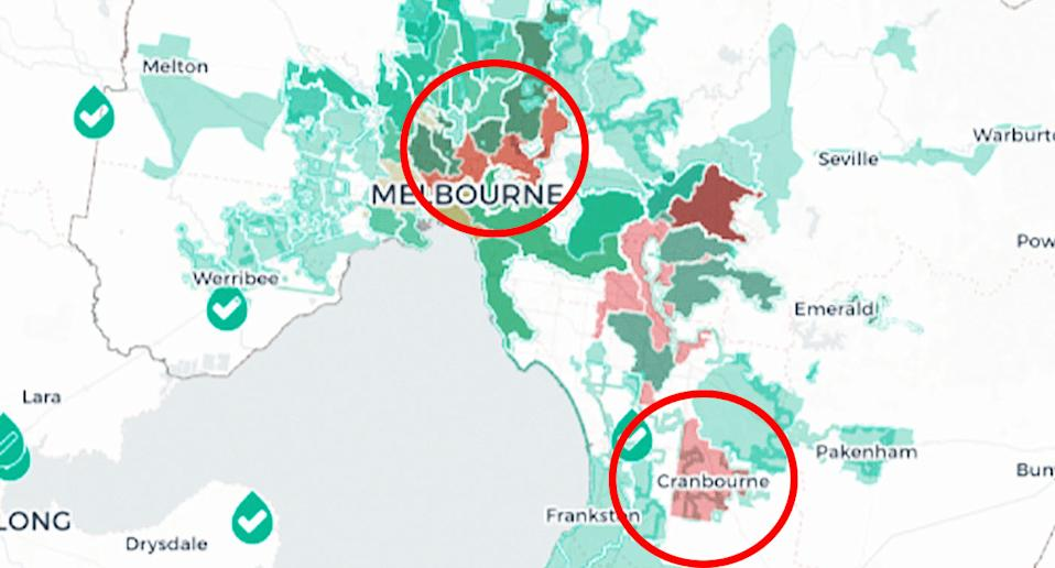 Two red circles show the new areas in Melbourne where the Department of Health says could have locally-acquired coronavirus cases.