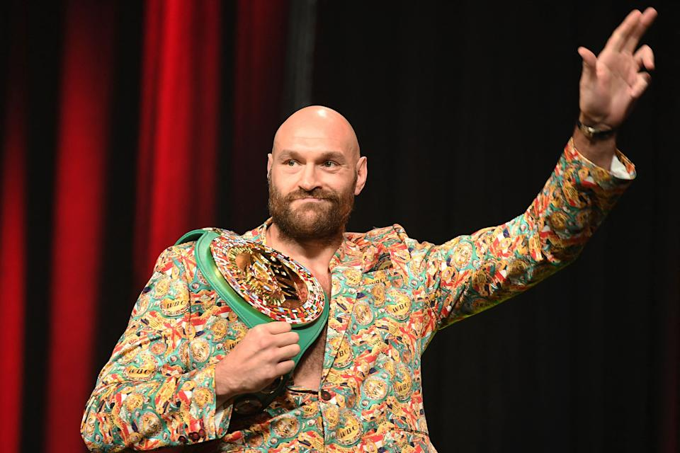 British champion boxer Tyson Fury attends a press conference for his WBC heavyweight championship fight against challenger US boxer Deontay Wilder, October 6, 2021 at the MGM Grand Garden Arena in Las Vegas, Nevada ahead of their October 9, 2021 fight. (Photo by Robyn Beck / AFP) (Photo by ROBYN BECK/AFP via Getty Images)