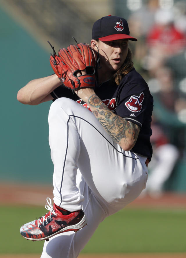 Cleveland Indians starting pitcher Mike Clevinger delivers in the first inning of a baseball game against the Houston Astros, Thursday, May 24, 2018, in Cleveland. (AP Photo/Tony Dejak)