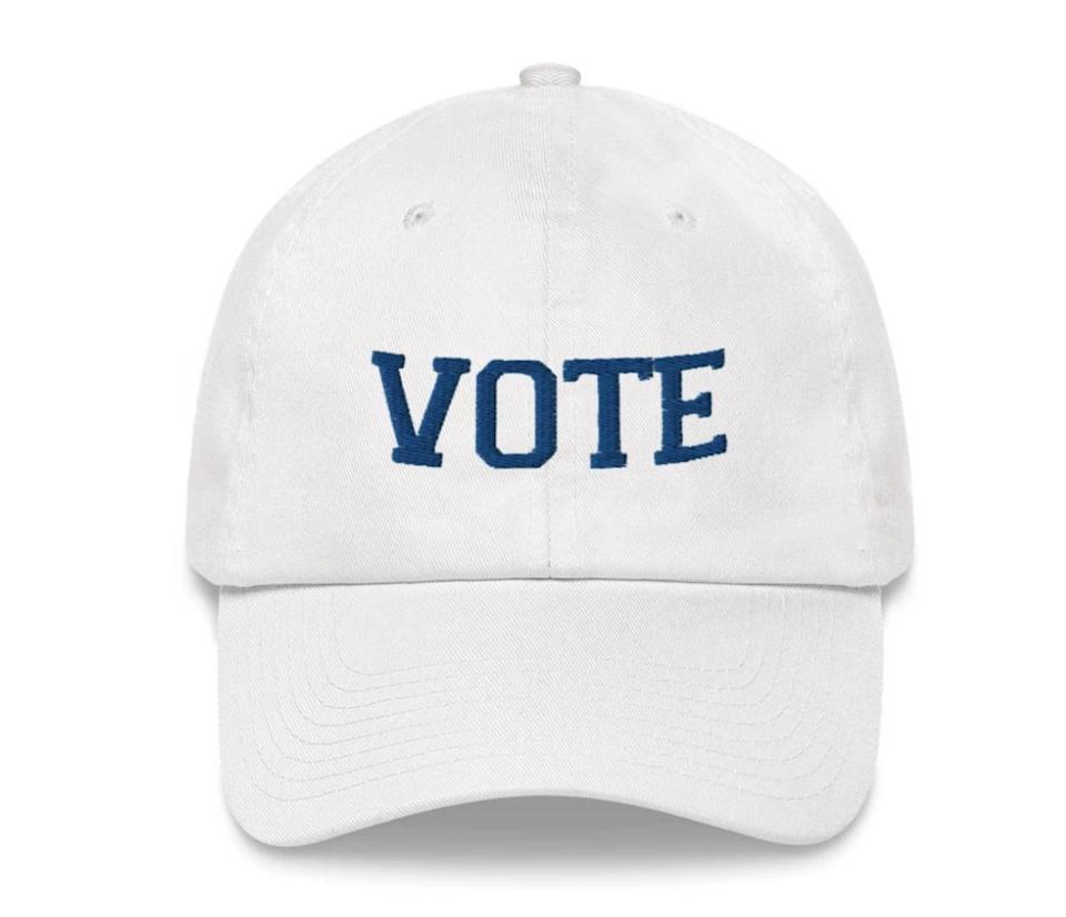 <p>This cute <span>Vote Dad Hat</span> ($30) has a straightforward message and basic design that will go with all of your outfits between now and Election Day.</p>