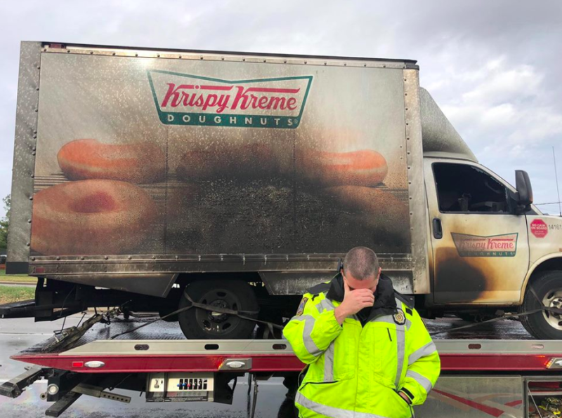 Officers saddened after truck hauling doughnuts goes up in flames