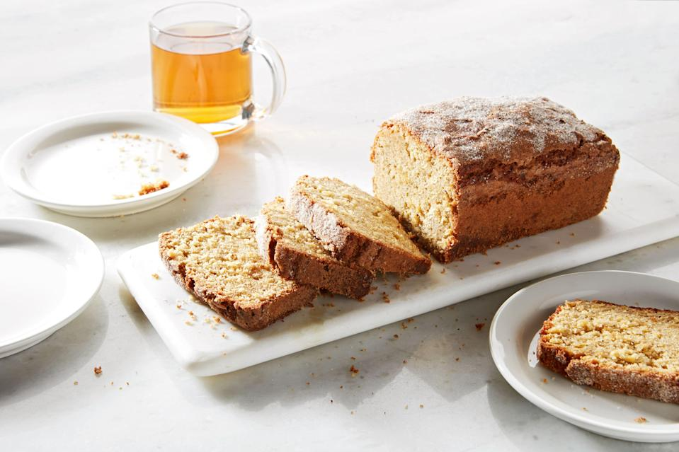 "Don't even <em>think</em> about breaking out the stand mixer—this olive oil cake comes together quickly with just a bowl and a whisk. <a href=""https://www.epicurious.com/recipes/food/views/olive-oil-apple-cake-with-spiced-sugar?mbid=synd_yahoo_rss"" rel=""nofollow noopener"" target=""_blank"" data-ylk=""slk:See recipe."" class=""link rapid-noclick-resp"">See recipe.</a>"