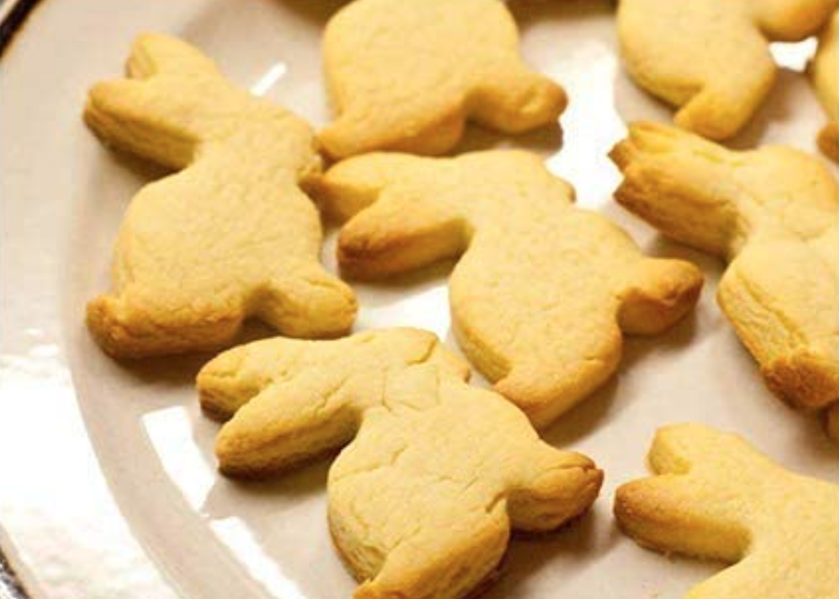 a plate of bunny shaped shortbread