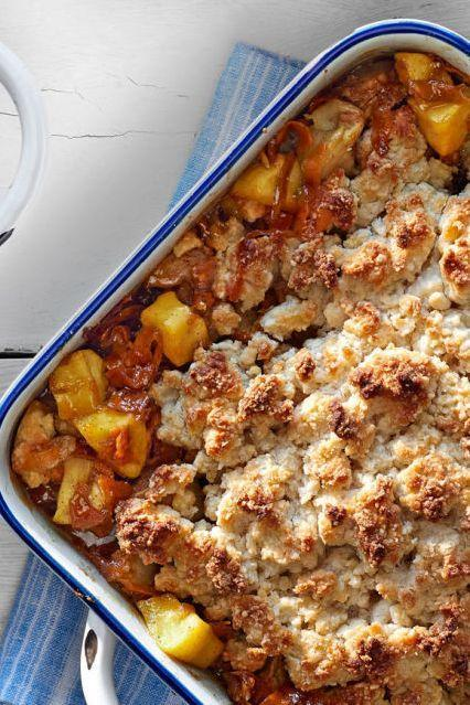 """<p>This hearty dish beautifully combines several fall flavors including pumpkin spice, sweet potato, brown sugar, and apples.</p><p><strong><a href=""""https://www.countryliving.com/food-drinks/recipes/a37303/gingered-sweet-potato-and-apple-cobbler/"""" rel=""""nofollow noopener"""" target=""""_blank"""" data-ylk=""""slk:Get the recipe"""" class=""""link rapid-noclick-resp"""">Get the recipe</a>.</strong></p><p><a class=""""link rapid-noclick-resp"""" href=""""https://www.amazon.com/Sweese-514-101-Porcelain-Baking-Brownie/dp/B07V2GWSCB/?tag=syn-yahoo-20&ascsubtag=%5Bartid%7C10050.g.877%5Bsrc%7Cyahoo-us"""" rel=""""nofollow noopener"""" target=""""_blank"""" data-ylk=""""slk:SHOP BAKING DISHES"""">SHOP BAKING DISHES</a></p>"""