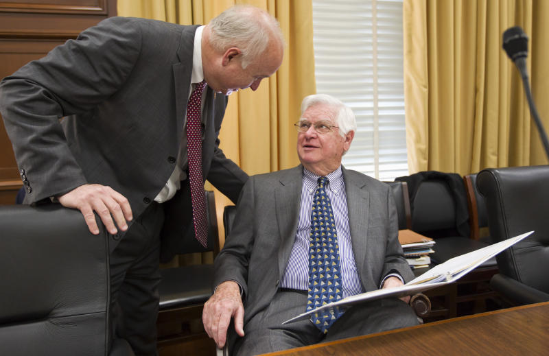 House Appropriations Committee Chairman Rep. Hal Rogers, R-Ky., right, chats with Rep. Jo Bonner, R-Ala., on Capitol Hill in Washington, Tuesday, Feb. 28, 2012, before Attorney General Eric Holder testified before the committee's hearing on the Justice Department's fiscal budget. (AP Photo/J. Scott Applewhite)