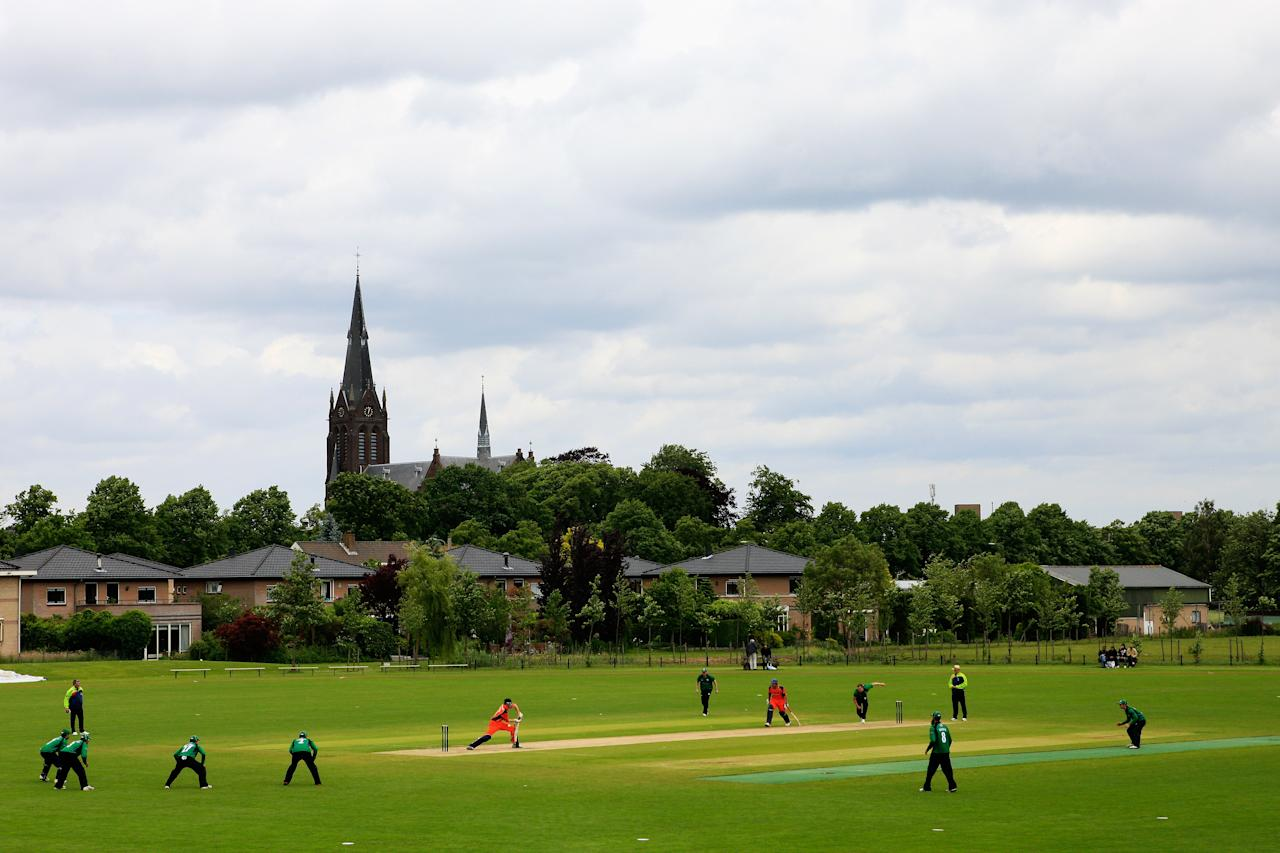 VOORBURG, NETHERLANDS - JUNE 08:  A general view of the action as Gareth Andrew bowls during the Clydesdale Bank Pro40 match between The Netherlands and Worcestershire at Voorburg Cricket Club at on June 8, 2012 in Voorburg, Netherlands.  (Photo by Dean Mouhtaropoulos/Getty Images)