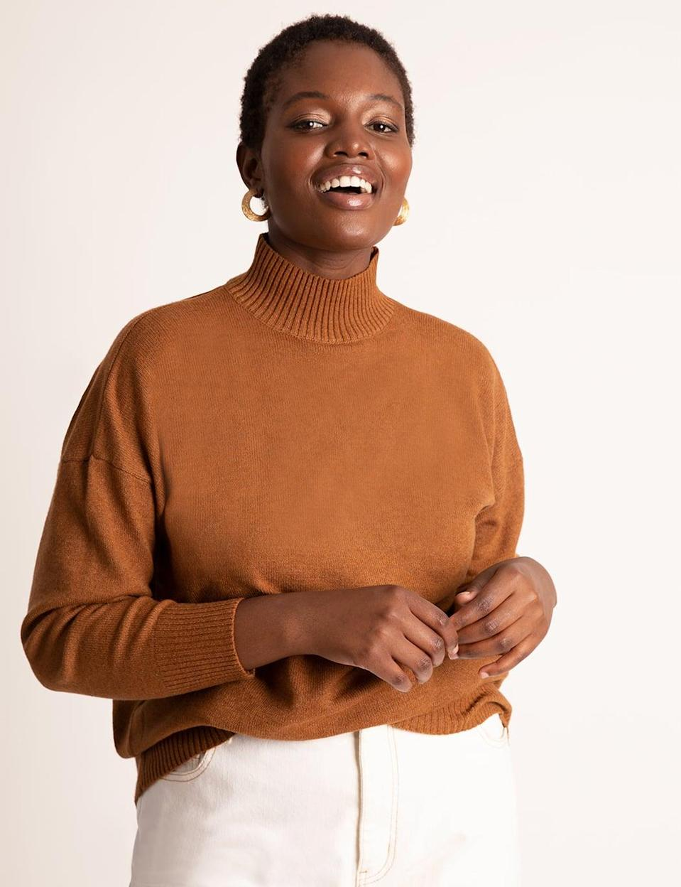 <p>We all need a <span>V-Back Turtleneck Sweater</span> ($65) in our closet.</p>