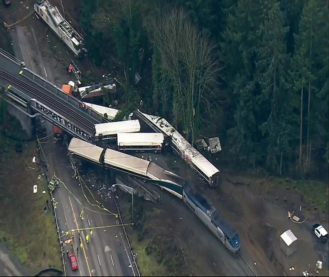"<p>This aerial image from video provided by KOMO-TV, shows the site of an Amtrak train that derailed south of Seattle on Monday, Dec. 18, 2017. Authorities reported ""injuries and casualties."" The train derailed about 40 miles (64 kilometers) south of Seattle before 8 a.m., spilling at least one train car on to busy Interstate 5. (Photo: KOMO-TV via AP) </p>"