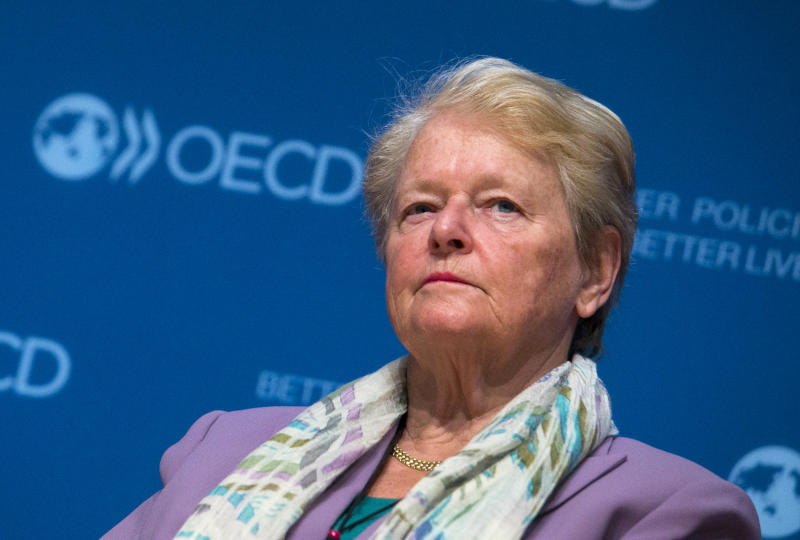 "Former Prime Minister of Norway Gro Harlem Brundtland attends a meeting "" Women of influence"" in OECD headquarters in Paris. Wednesday, May 29, 2013.(AP Photo/Jacques Brinon)"