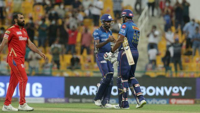 Hardik Pandya of Mumbai Indians and Kieron Pollard of Mumbai Indians after match 42 of the Vivo Indian Premier League between the Mumbai Indians and the Punjab Kings held at the Sheikh Zayed Stadium, Abu Dhabi in the United Arab Emirates on the 28th September 2021 Photo by Vipin Pawar / Sportzpics for IPL