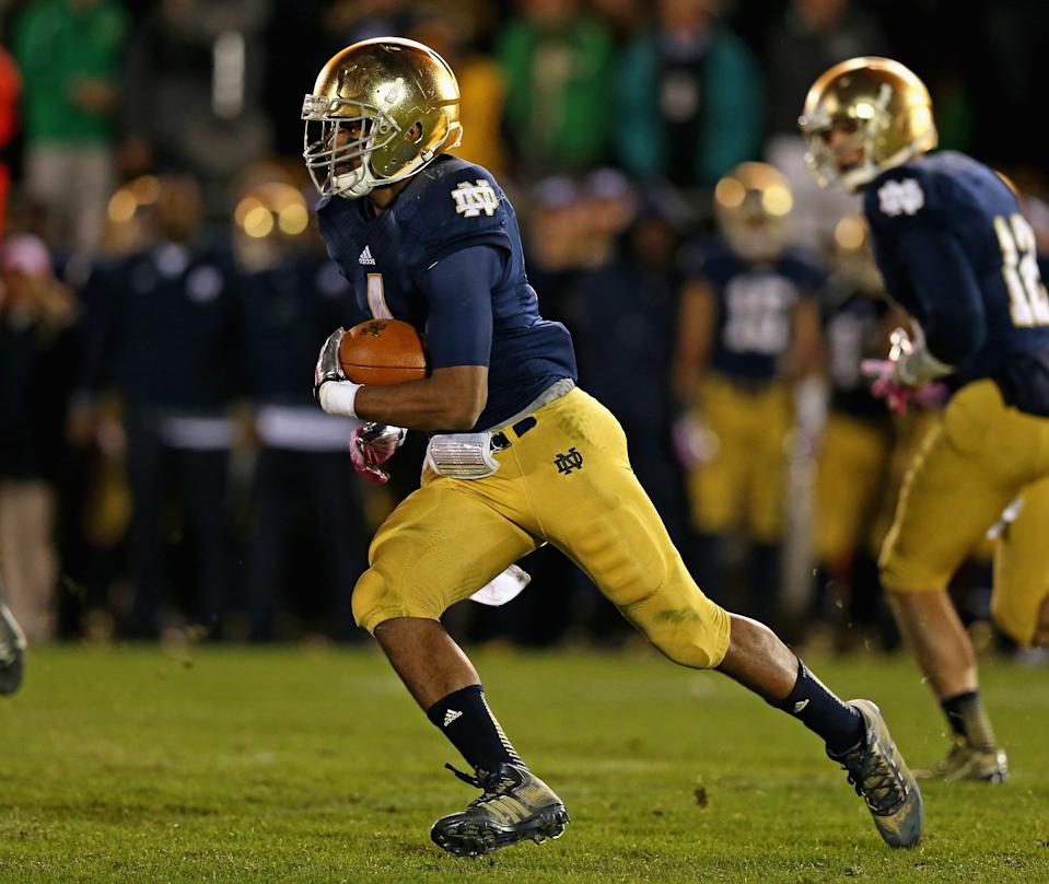 Former Notre Dame running back George Atkinson III has died at age 27. (Photo by Jonathan Daniel/Getty Images)