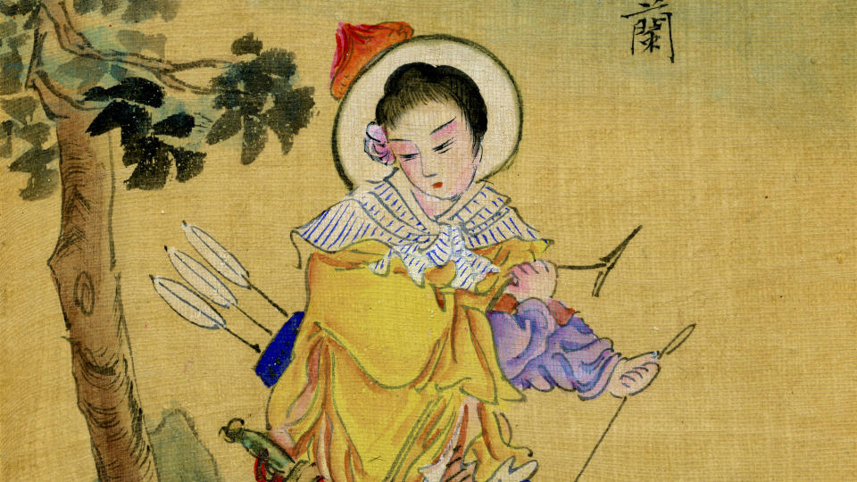 Hua Mulan, from a Chinese handpainted album on silk, circa late 19th century. (Photo by Culture Club/Getty Images)