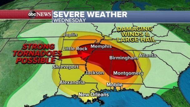 PHOTO: The worst of the severe weather will begin early in the afternoon on Wednesday or evening and overnight into Thursday morning. (ABC News)