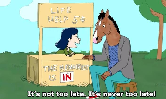 """BoJack Horseman seeking help/therapy from a """"Peanuts"""" parody of Lucy"""