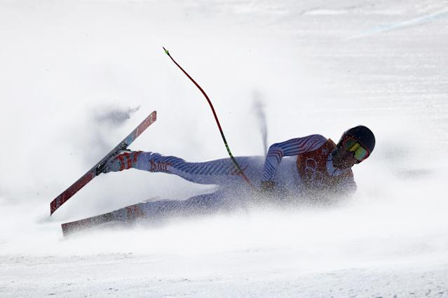 <p>Ryan Cochran-Siegle of the United States crashes during the Men's Alpine Combined Downhill on day four of the PyeongChang 2018 Winter Olympic Games at Jeongseon Alpine Centre on February 13, 2018 in Pyeongchang-gun, South Korea. (Photo by Ezra Shaw/Getty Images) </p>