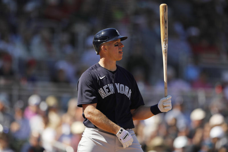 FORT MYERS, FLORIDA - FEBRUARY 29: Erik Kratz #38 of the New York Yankees in action against the Boston Red Sox during a Grapefruit League spring training game at JetBlue Park at Fenway South on February 29, 2020 in Fort Myers, Florida. (Photo by Michael Reaves/Getty Images)