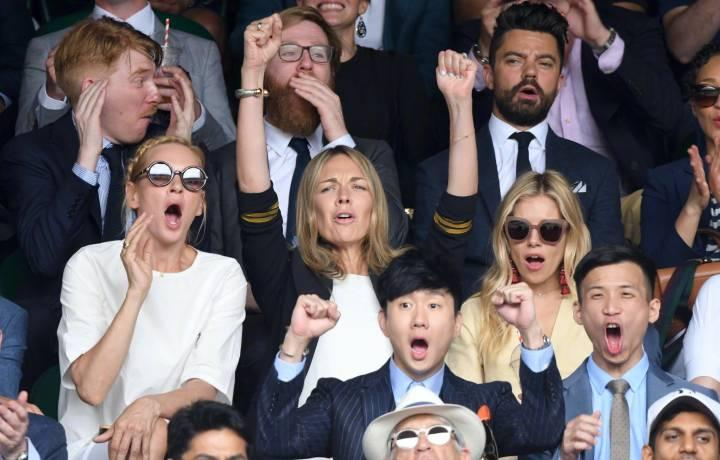 Singaporean singer-songwriter JJ Lin at Wimbledon, pictured sitting near Uma Thurman, Domhnall Gleeson and Dominic Cooper (Photo: LIkes Communications)