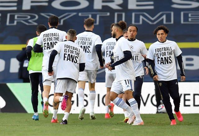 Leeds players joined in the protests against the proposed European Super League before Monday's draw with Liverpool