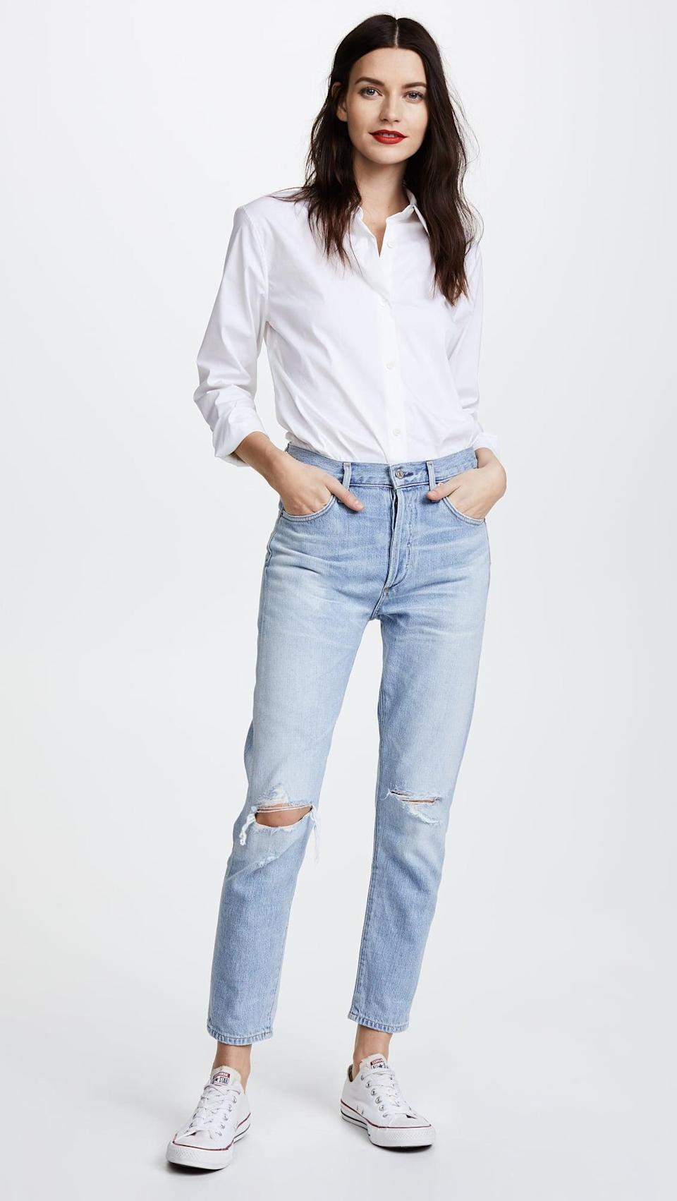 """<p>""""I've been wearing Citizen jeans for nearly a decade. They just fit me so well and they're beyond comfortable. I own these <span>Citizens of Humanity Liya High Rise Classic Fit Jeans</span> ($258) in just about every single wash there is. Whether I'm wearing them on a night out or to the office, I can rock them for an entire day without dying to take them off. The high-waist and straight leg style is exactly what I love."""" - KJ</p>"""