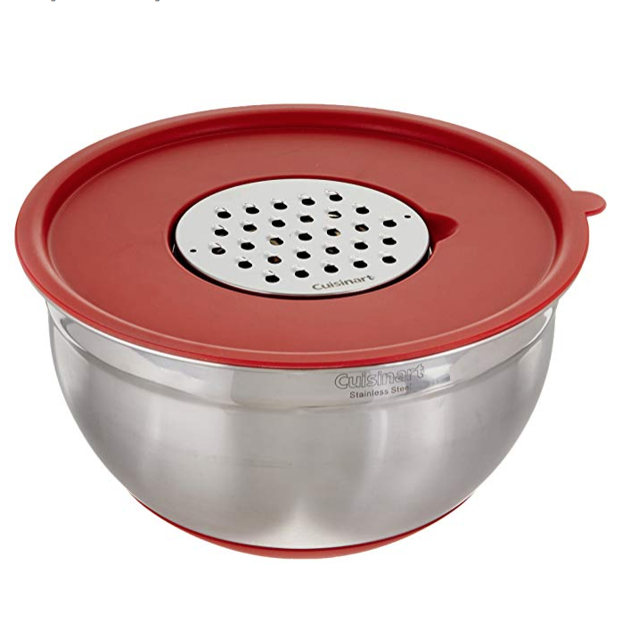 """<p><strong>Cuisinart</strong></p><p>amazon.com</p><p><strong>$35.98</strong></p><p><a href=""""https://www.amazon.com/dp/B00OI31JPK?tag=syn-yahoo-20&ascsubtag=%5Bartid%7C10055.g.29562517%5Bsrc%7Cyahoo-us"""" rel=""""nofollow noopener"""" target=""""_blank"""" data-ylk=""""slk:Shop Now"""" class=""""link rapid-noclick-resp"""">Shop Now</a></p><p>If you're hand grating in bulk, the Cuisinart multi-use grater <strong>c</strong><strong>omes with three blades and a large storage bowl and lid for catching your shreds</strong>. We were impressed with the sturdiness of the bowl, thanks to a silicone base, as well as the strength of the blades. With, no fear of slipping or mess, this grater is also our top pick for kids to use. This grater is a good pick for someone shopping for a tool that can be used in multiple ways and at under $30, it's a great value.</p>"""