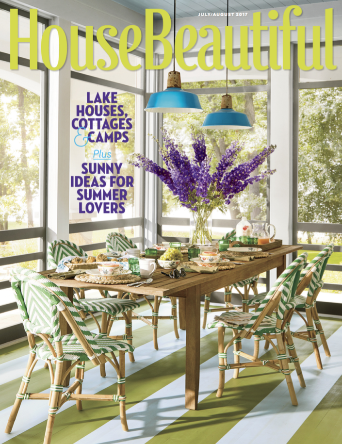 <p>The bright yellow, blue, green, and purple in this fun indoor-outdoor space make it one of my favorite summer covers to date.</p>