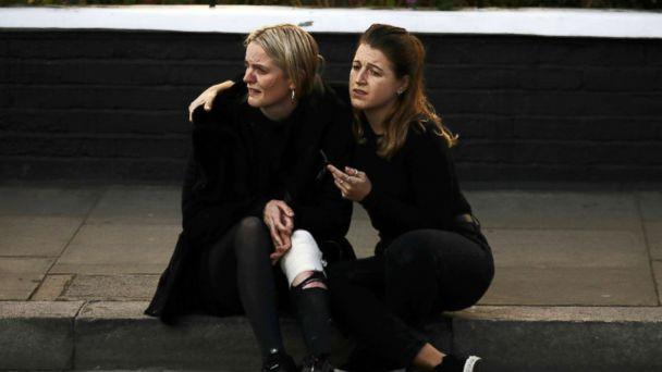 PHOTO: An injured woman reacts outside Parsons Green tube station in London, Sept. 15, 2017. (Kevin Coombs/Reuters)