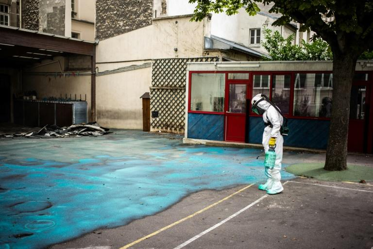 One school courtyard was  sprayed with a lead-absorbing gel after tests on lead levels