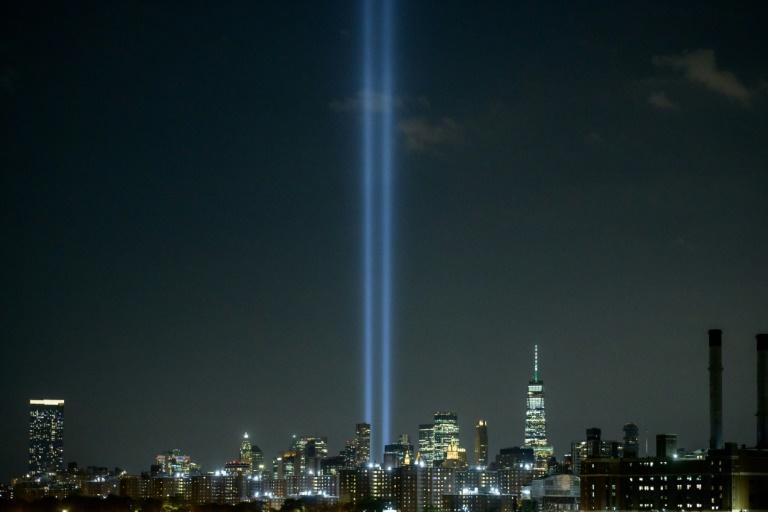 The 'Tribute in Light' public art installation commemorates the 9/11 2001 terrorist attacks that destroyed the Twin Towers (AFP/Ed JONES)
