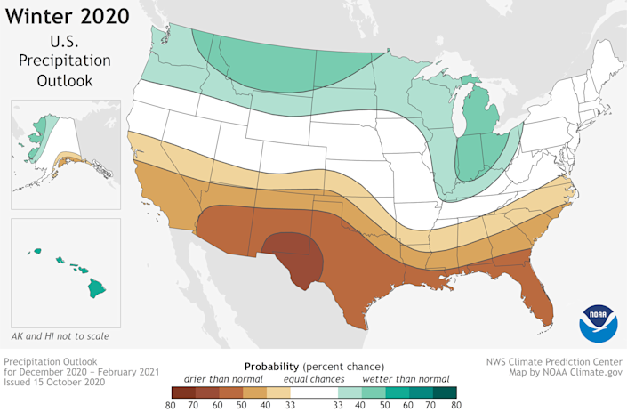 The precipitation outlook for the USA for the winter of 2020-21, according to NOAA: The southern tier should be drier than average (brown), and much of the north should be wetter than average (green).