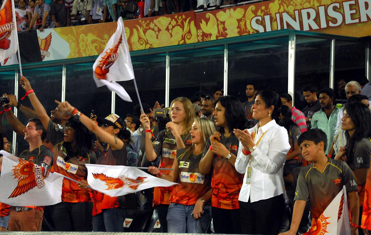 SRH Fans and Cheerleader celebrate after winning the match against Mumbai Indians at Rajiv Gandhi International Stadium, Uppal, Hyderabad on on May 1, 2013. (Photo: IANS)
