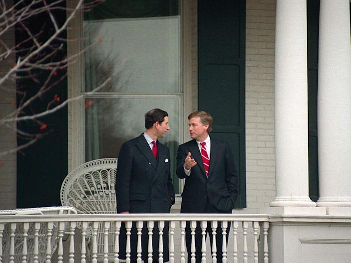 Prince Charles Dan Quayle at the vice president's residence