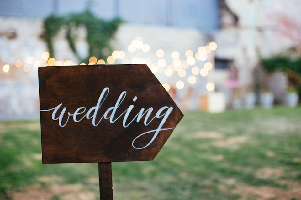 Wedding and party place decoration with lamps and garlands