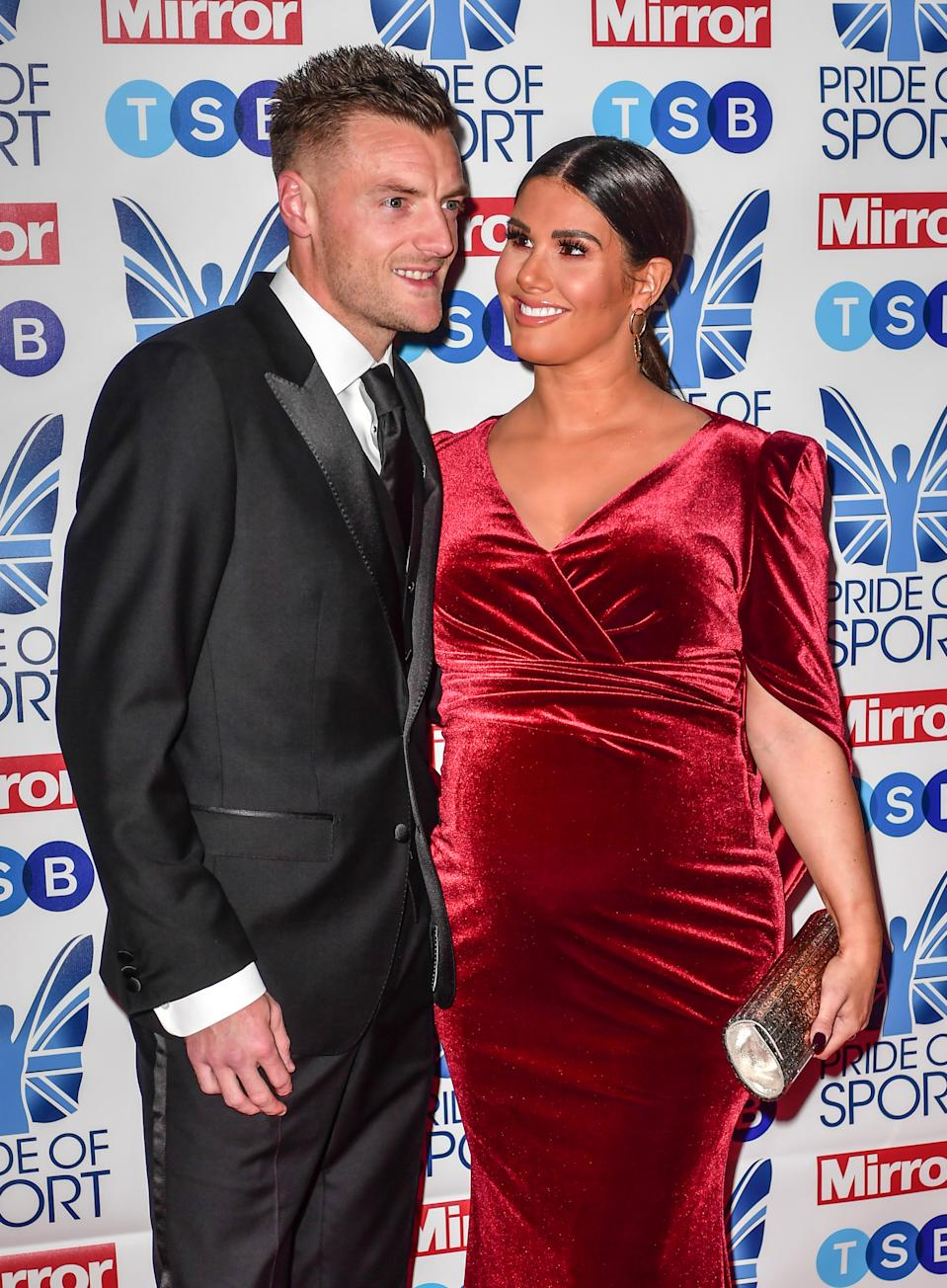 LONDON- DECEMBER 05: Jamie Vardy & Rebekah Vardy attend The  Pride of Sport Awards, on December 05 2019, at The Grosvenor House Hotel ,London, England. (Photo by MelMedia/Getty Images)